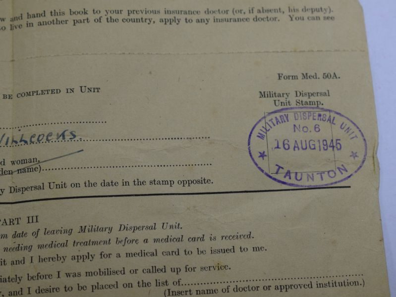 AC WW2 Soldiers Release Book Class A to Pte 1055881 T.H.Wilcocks  10th Btn RAOC