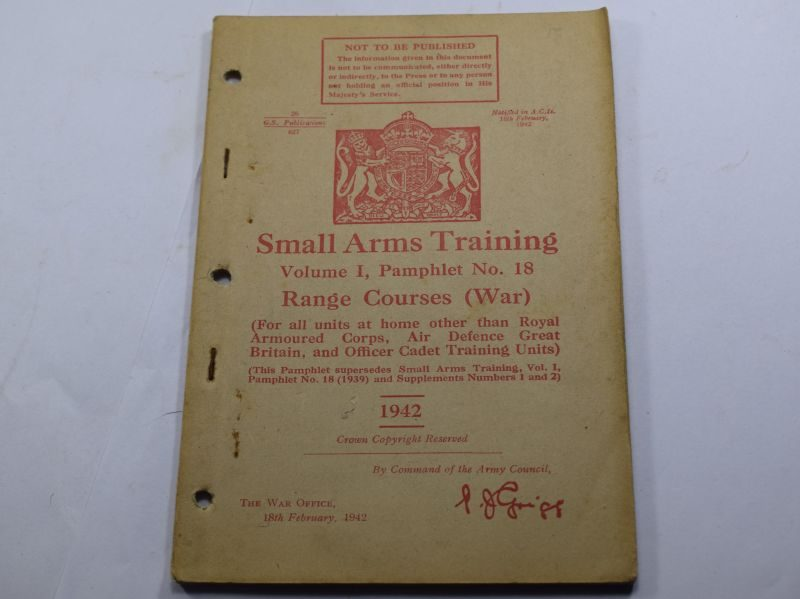 HH WW2 Small Arms Training Vol I Pamphlet No 18, Range Courses (WAR) 1942