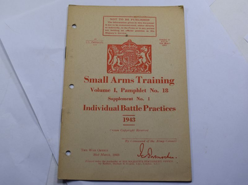 JJ WW2 Small Arms Training Vol I Pamphlet No 18, Supplement 1, Individual Battle Practices 1943