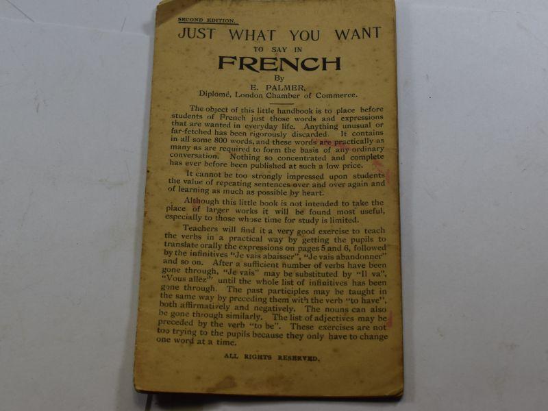 OO Original WW1 Booklet Just What You Want To Say In French