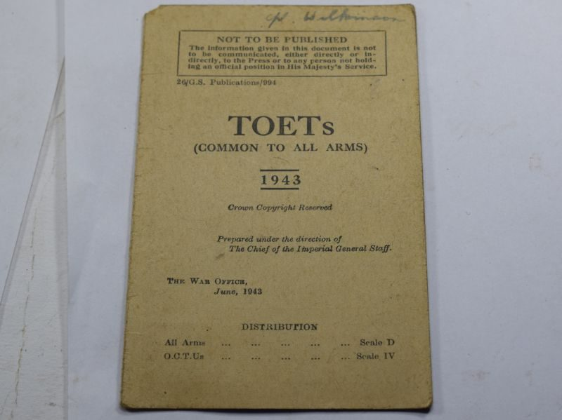 PP Original Small Fold Out TOETs Common To All Arms Fold Out Card 1943