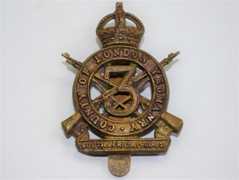 23 An Original WW1 3rd County of London Yeomanry Sharpshooters Cap Badge