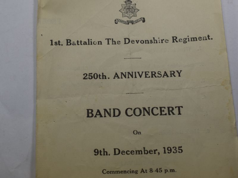 XX 1930s 1st Bn Devonshire Regiment 250th Anniversary Programme & Annual Ball Card Commemorating The Relief of Ladysmith 1900