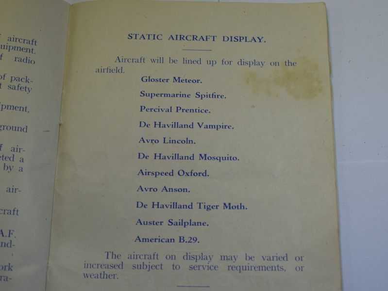 48 RAF Coningsby Ceremonial Parade Souvenir Booklet Dated 1949