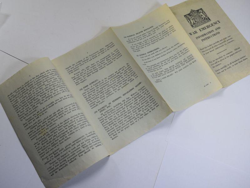 50 Interesting Original Fold Out Leaflet War Emergency Information & Instructions