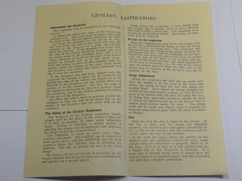 51 Original 1938 Leaflet Assembly & Fitting of Civilian Respirators