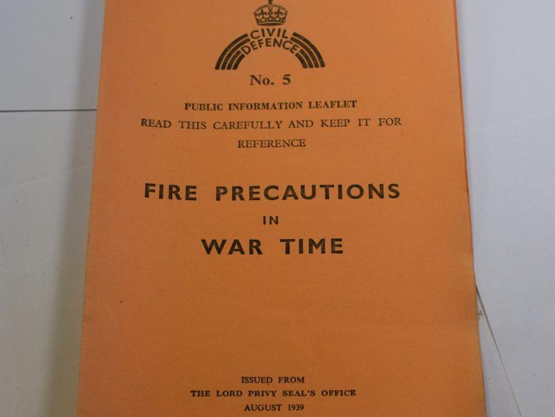 52 Set of 5 Original Civil Defence Leaflets dated 1939. War, Gas Mask, Masking Windows,Evacuation, Food, Fire