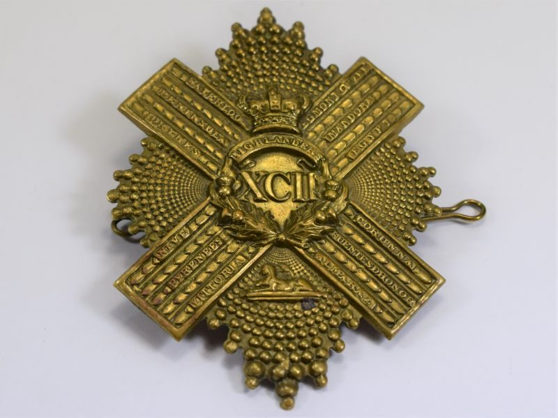 68 Large Ornate Victorian Cross Belt Pouch Badge 92nd Gordon Highlanders Pre 1881