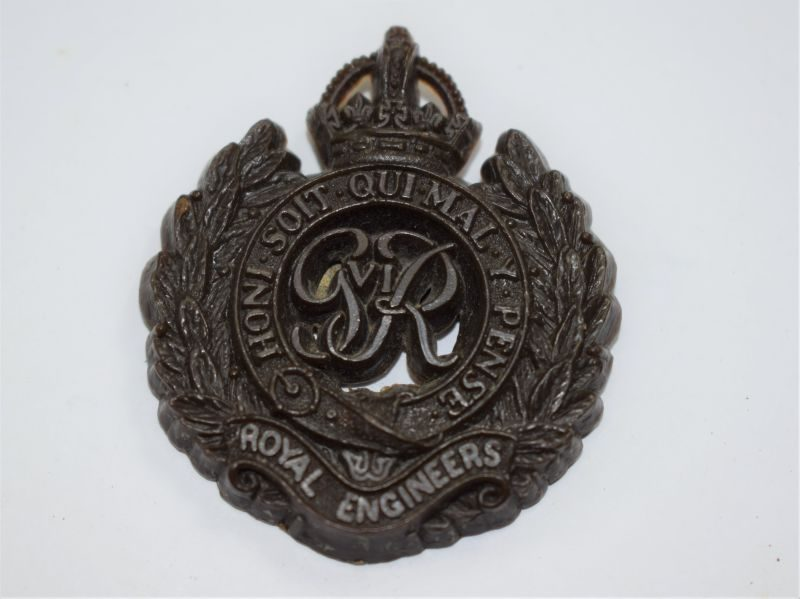 70 Original WW2 Plastic Economy Cap Badge to The Royal Engineers