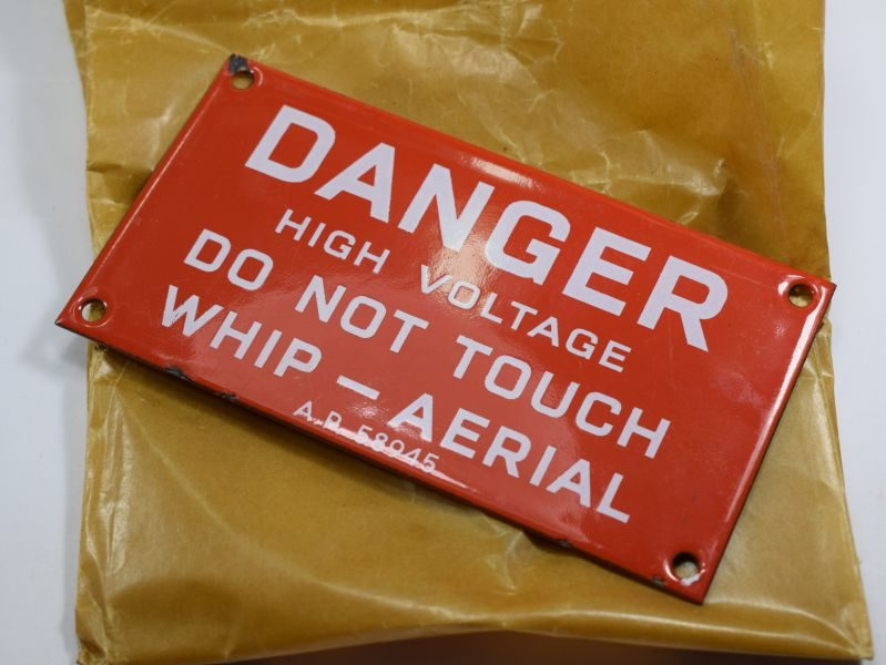 Interesting Small Enamelled Danger Plate from RN Ship, Whip-Aerial AP 58945