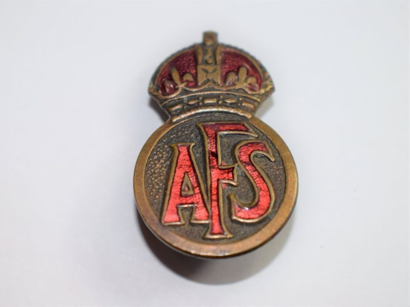 L Nice Original Early WW2 Auxiliary Fire Service Lapel Badge