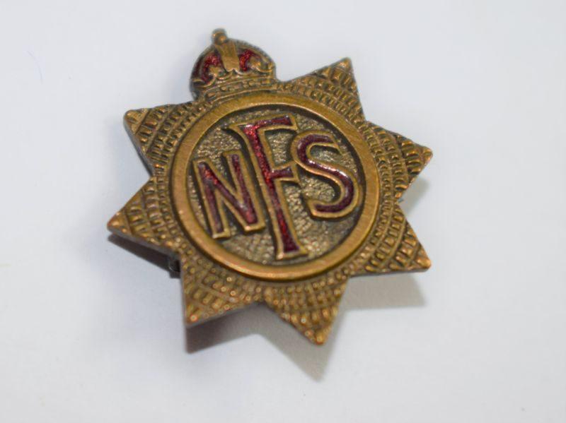H Original Small WW2 National Fire Service Pin Back Badge