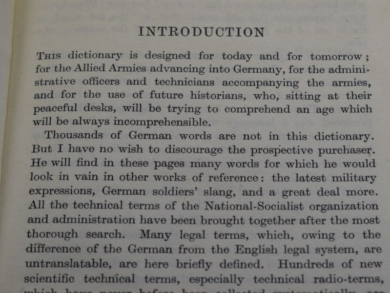 F Interesting Original War & Post-War German Dictionary Dated 1945