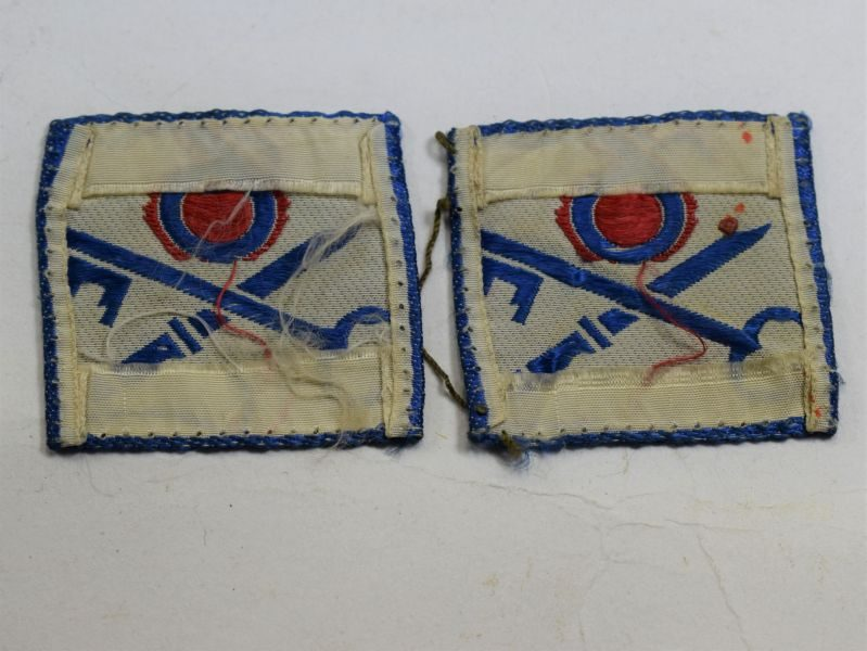 40 Good Original Pair of Post WW2 6th Infantry Brigade Cloth Badges