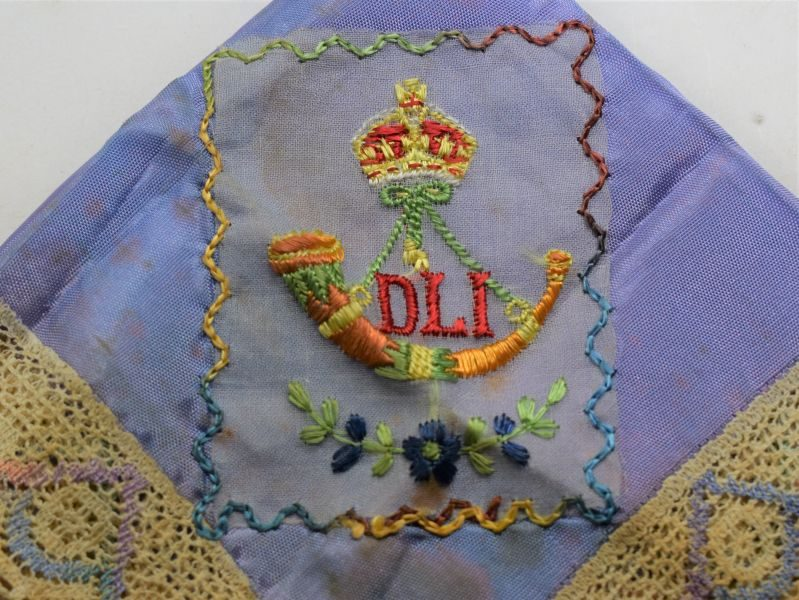 WW1 Sweetheart Hanky To The Durham Light Infantry
