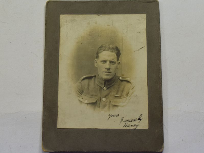 60 Interesting WW1 Studio Photograph of British Soldier with Writing to Rear