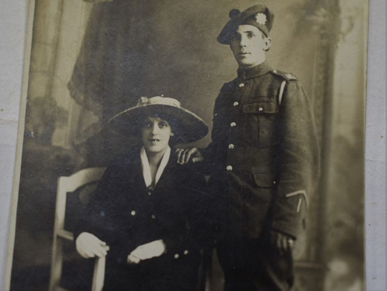 62 Interesting WW1 Studio Photograph British Scottish Regt Soldier & Wife