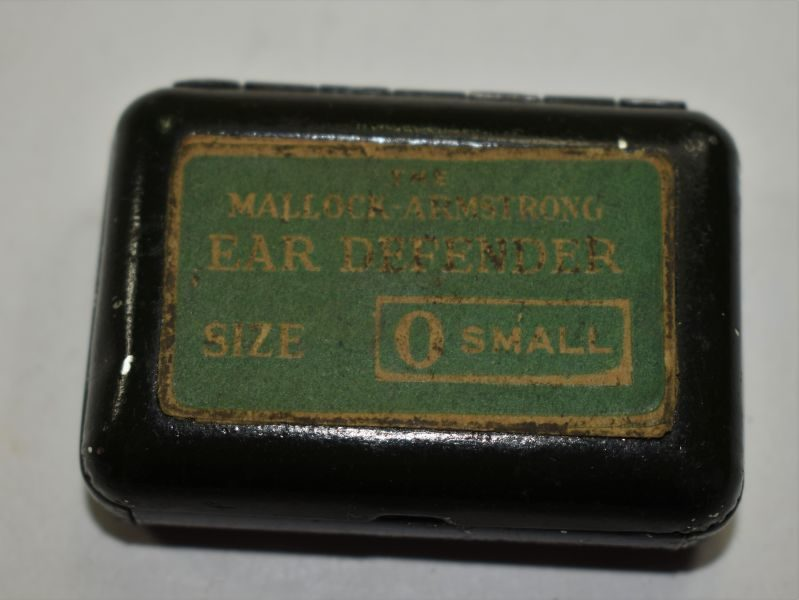1930s-WW2 British Military Mallock Armstrong Ear Defenders & Storage Tin
