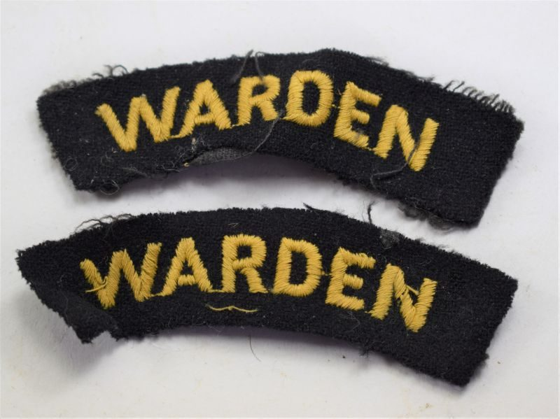 67 Original WW2 Air Raid Warden Cloth Shoulder Title Pair