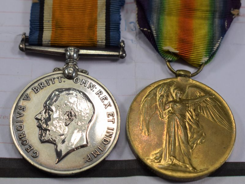 Original WW1 British Full Size Medal Pair to 42515 Pte J.W.Carter. K.R.R.C.