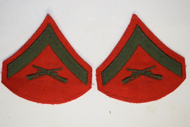 75 Original WW2? USMC Cloth Rank Insignia to a Lance Corporal