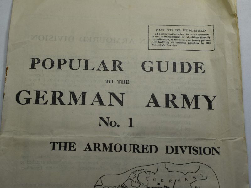 89 Original Large WW2 British Popular Guide German Army No1 Armoured Division