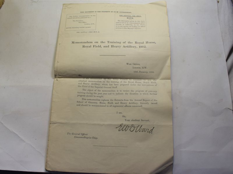 91 Original WW1 1913 Dated Memorandum on the Training of RHA, RFA & Heavy Artillery 1912