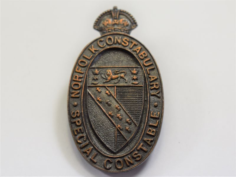 20 Lovely Original WW1? Norfolk Constabulary Special Constable Bronze Lapel Badge