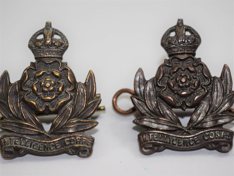 27 Nice Original WW2 British Intelligence Corps Officers Bronze Collar Badges