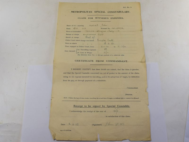 94 Interesting WW2 Metropolitan Police Claim Sheet For Unscreened Light
