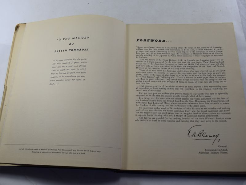 Large Book Khaki & Green With The Australian Army At Home & Overseas 1943