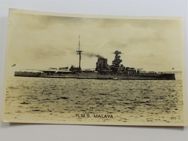 75 Original WW1 WW2 Royal Navy Post Card of HMS Malaya