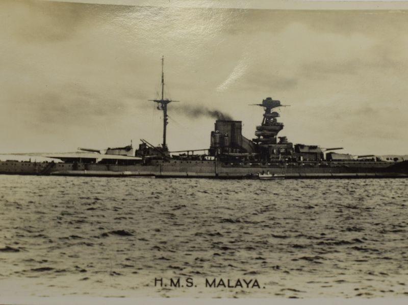 75 Original WW1 WW2 Royal Navy Post Card of HMS Malaya
