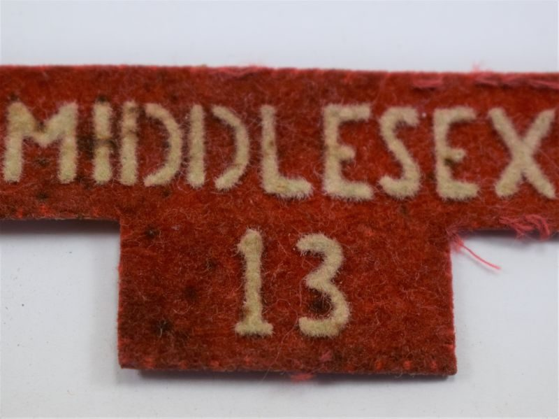 91 Unidentified Cloth Badge Middlesex 13, Post War Home Guard?