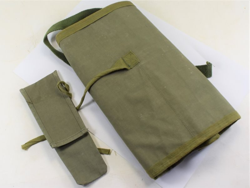 Korean War Era British 44 Pattern Wash Kit Roll & Cutlery Pouch