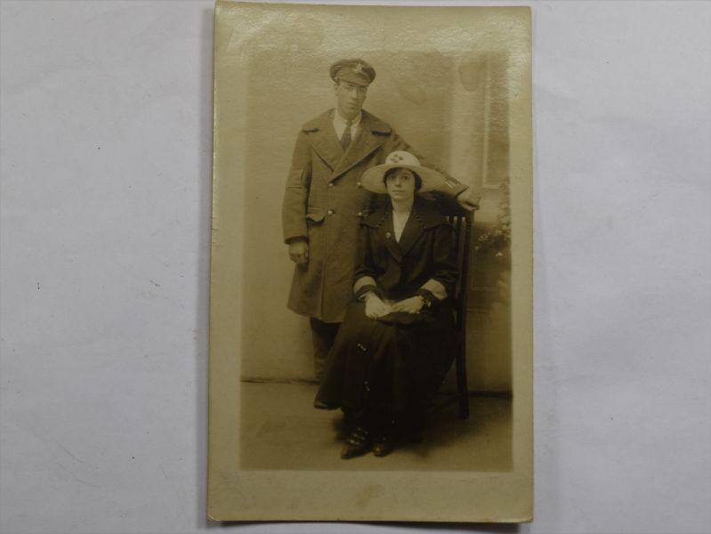 36 WW1 Photograph Post Card Injured Man & Girlfriend Royal Artillery