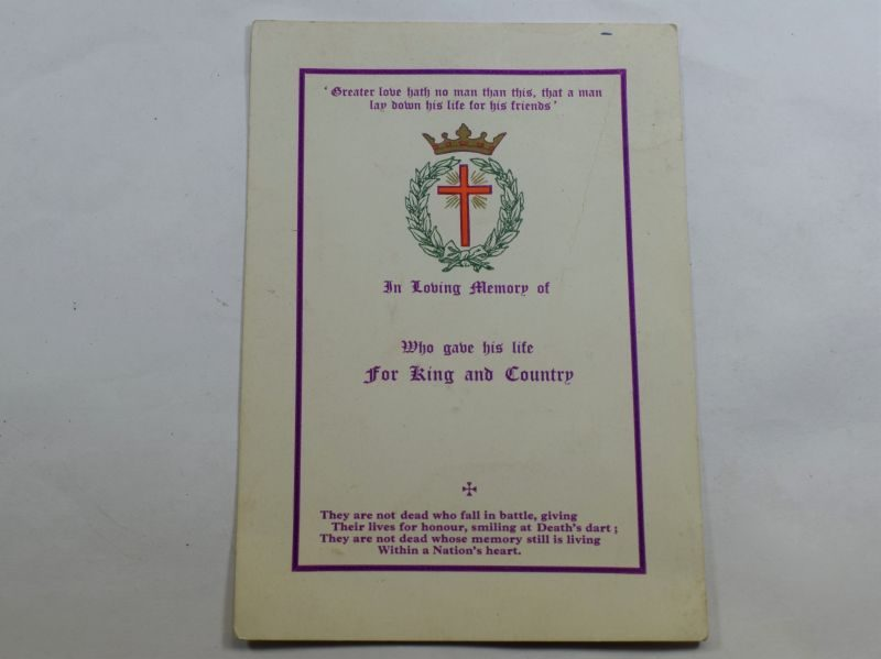 37 Original WW1 WW2 For King & Country Memorial Card Un-Named