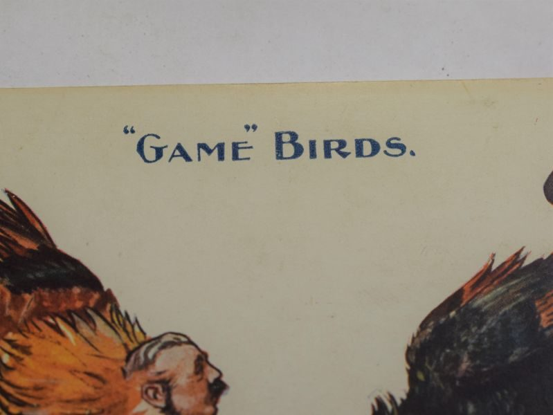 "39 WW1 Era Political Post Card Fiscal S1 ""Game"" Birds, The First Round."