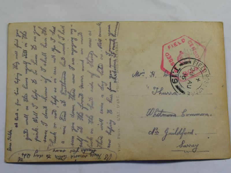 42 Original WW1 British Post Card With Field Sensor Stamp and 1916 Dated