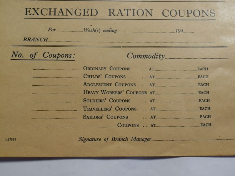 46 Large Un-used Envelope for Irthlingborough Exchanged Ration Coupons