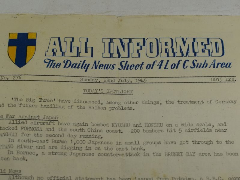 48 Original WW2 21st Army 4 L Of C Daily News Sheet All Informed, 22nd July 1945