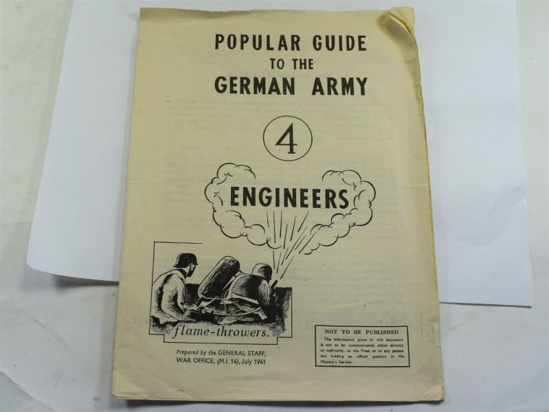 49 Original WW2 Popular Guide To The German Army No4 Engineers 1941
