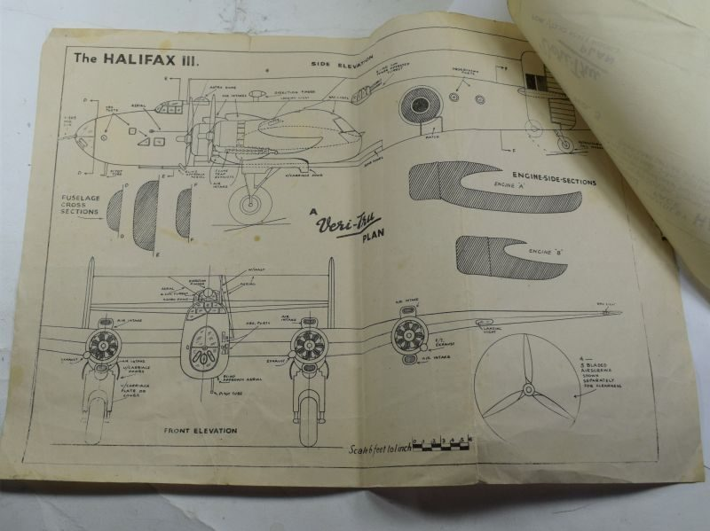 50 1940s-1950s Veri-Tru Scale Model Plan No3 Halifax III Heavy Bomber