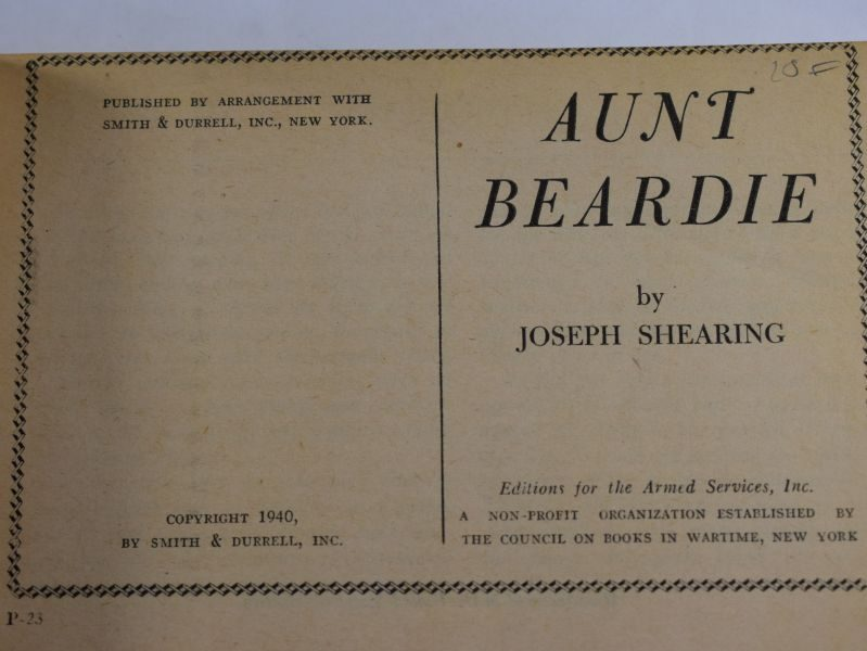 52 Original WW2 US Military Forces Novel Aunt Beardie Dated 1940