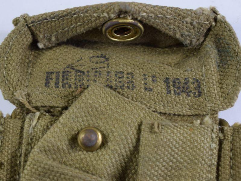 64 Original WW2 British 37 Pat Pistol Ammo Pouch Finnigans Ltd 1943