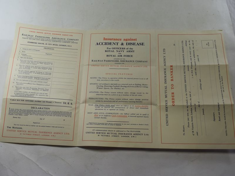 25 WW2 Insurance Against Accident & Disease for Officers RN, Army & RAF