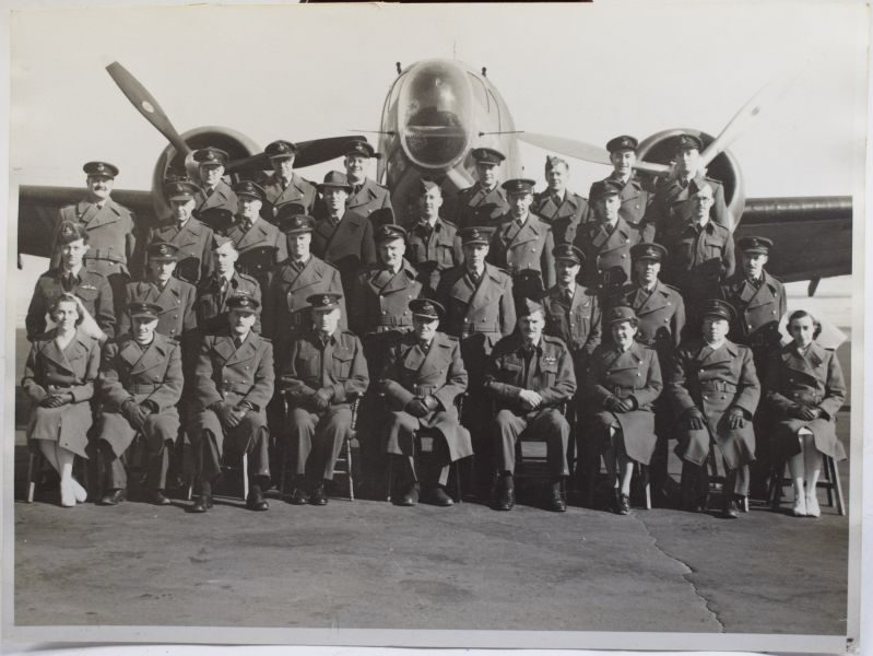 Late WW2 Early Post War RAF Group Photograph in Front of Bomber