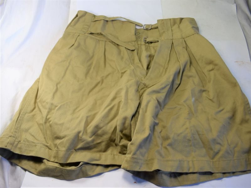 Original WW2 Indian Made British Army Issue Double Buckle Shorts 1943