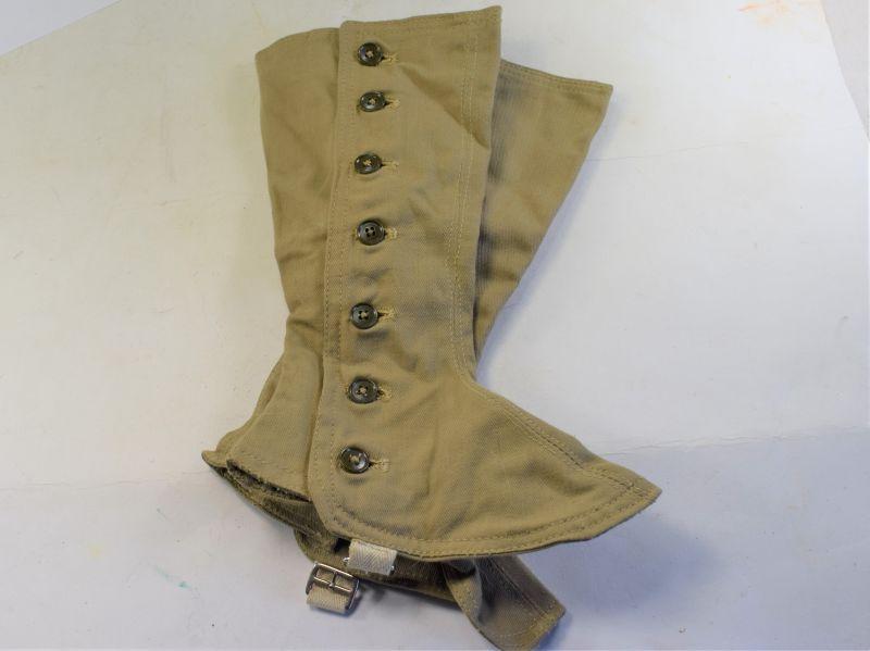 Unissued WW2 ATS & Nurses Issue Khaki Spats Size 5 & Dated 1944