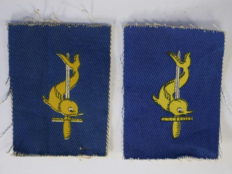 8 Original Post WW2 British Cloth Insignia pair 3rd Port Task Force RE